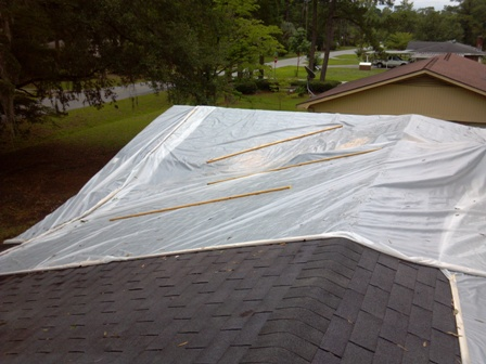 Roof cover up from storm