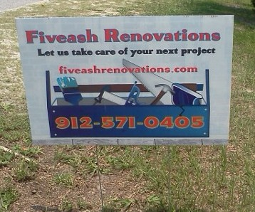 fiveash renovations yard signs