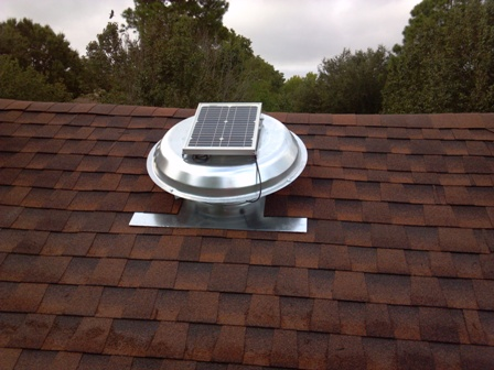 Solar Powered Roof Vent Installation